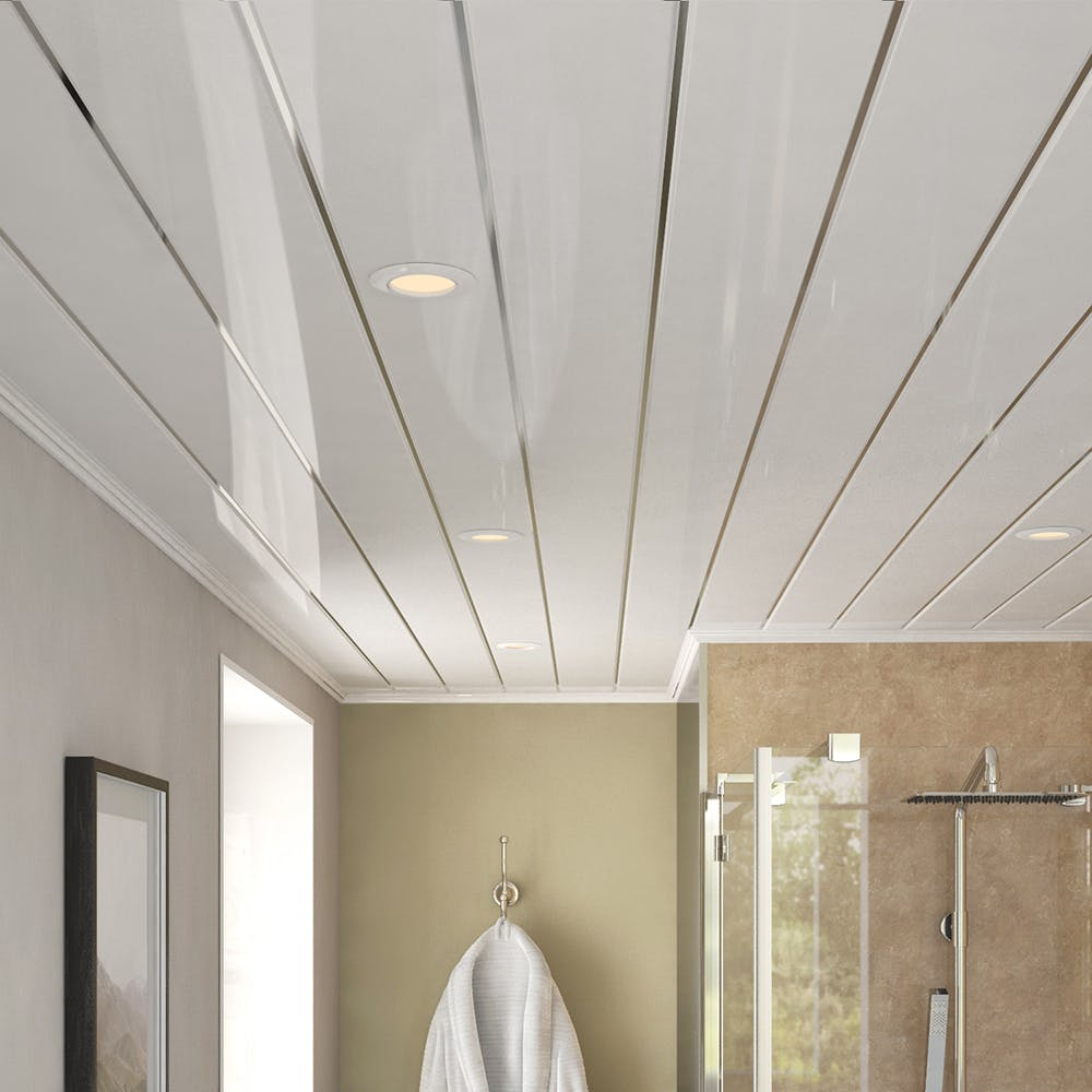 Ancona Double Chrome Gloss Ceiling Panels (4no. 2700mm x 250mm x 8mm)