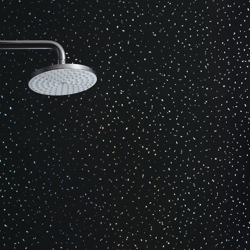Ancona Black Sparkle PVC Shower Wall Panel (2400mm x 1000mm x 10mm)