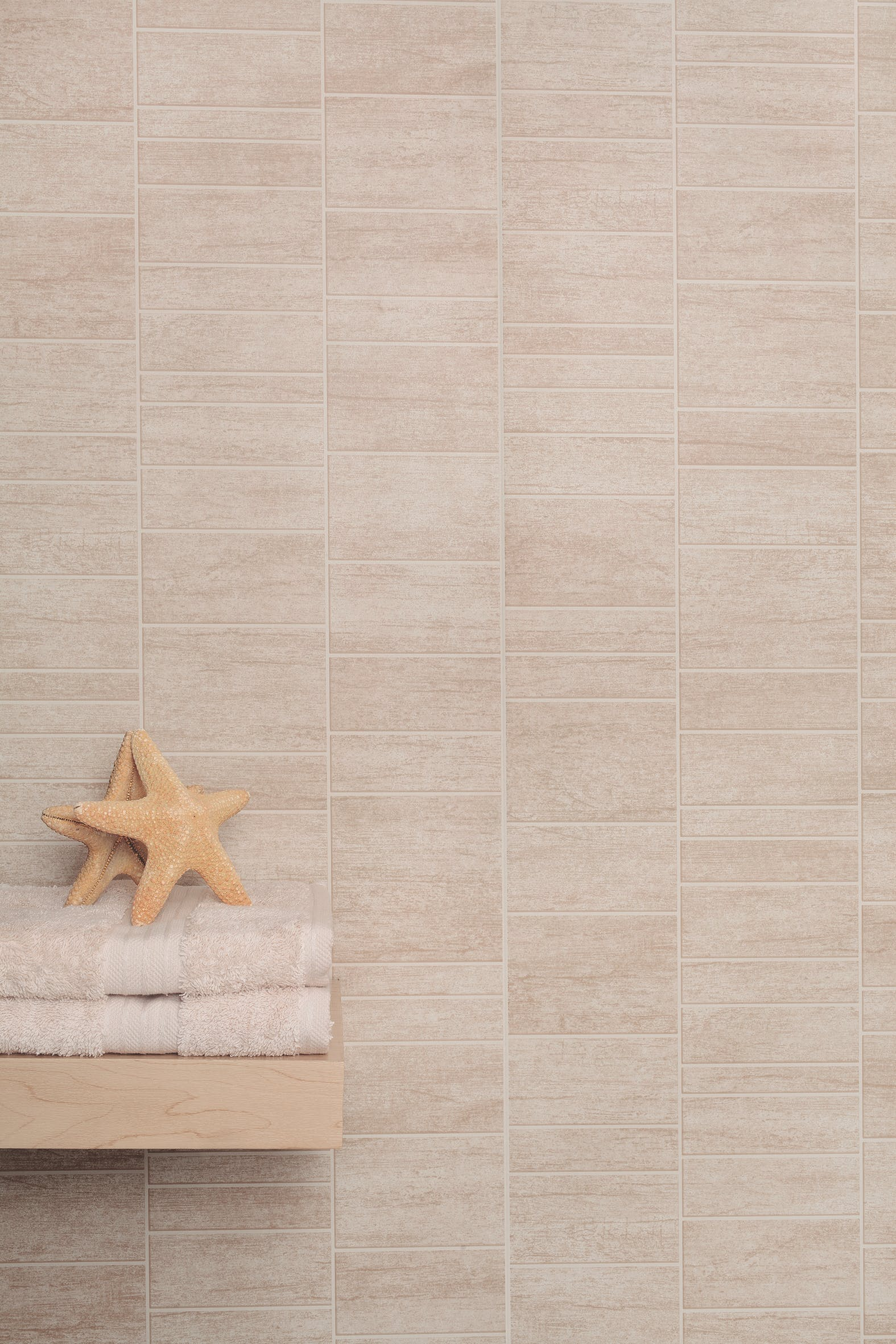 Vari-Fit Sandstone Beige PVC Small Tile Wall Panel (2440mm x 375mm x 8mm)