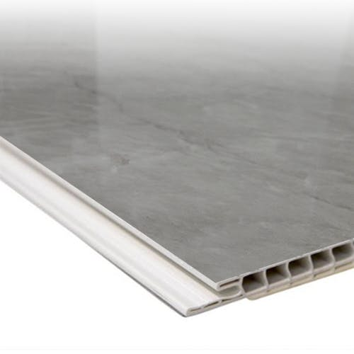 Max-Fit Grey Marble Gloss PVC Shower Panel (2400mm x 1000mm x 10mm)