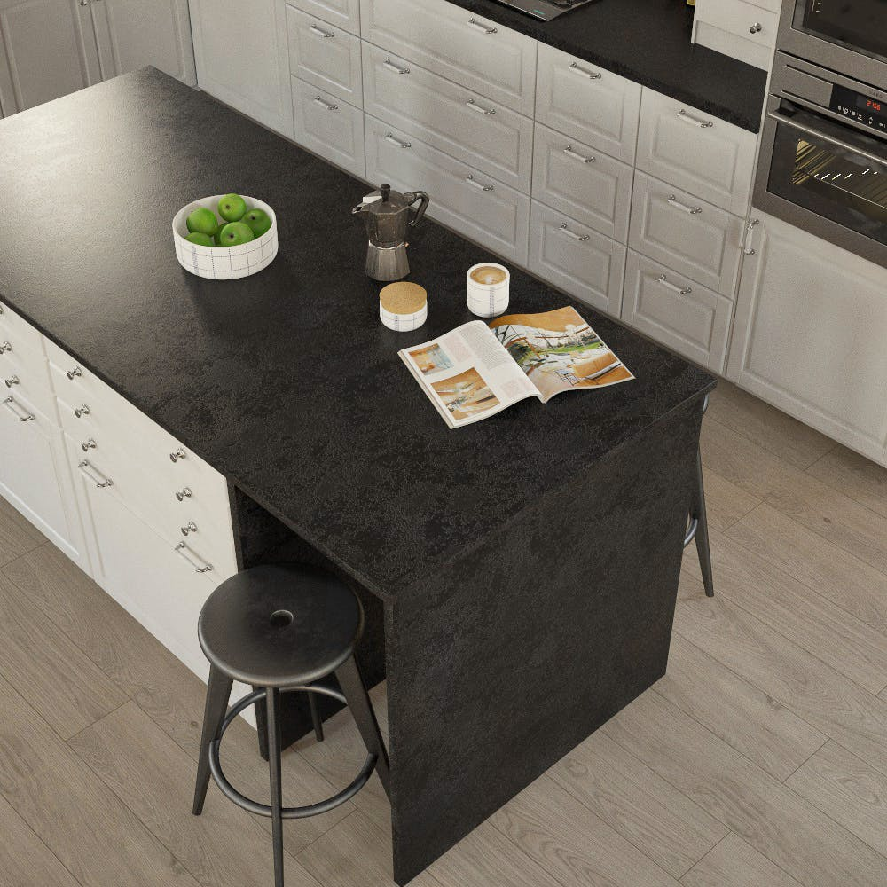 Getalit Black (A 1 Ce) Bullnosed Breakfast Bar (4100mm x 670mm x 39mm)