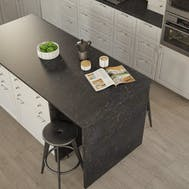 Getalit Marble Marquina Caviar Grey (BN 112 Si) Square Edged Breakfast Bar (4100mm x 900mm x 39mm)