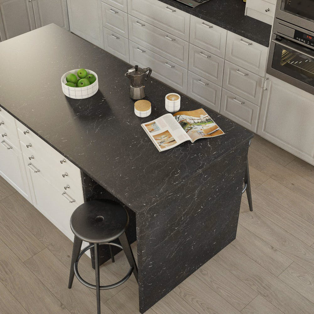 Getalit Marble Marquina Caviar Grey (BN 112 Si) Bullnosed Breakfast Bar (4100mm x 670mm x 39mm)