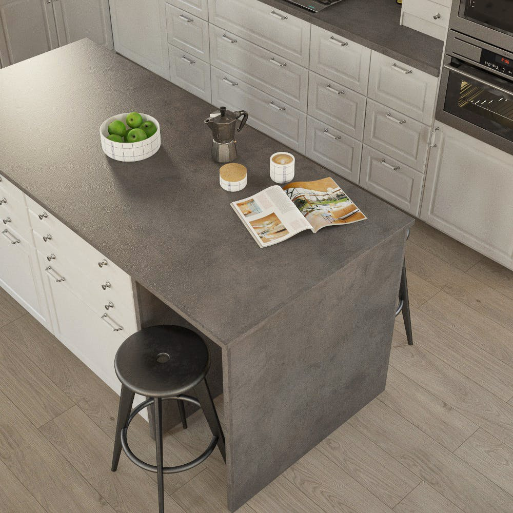 Getalit Fine Ceramic Anthracite (FC 410 Pat) Bullnosed Breakfast Bar (4100mm x 900mm x 39mm)