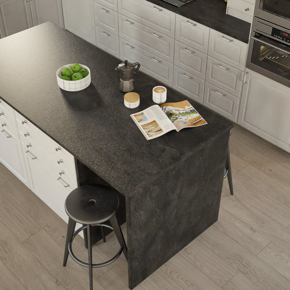 Getalit Black Slate (SC 114 Pat) Bullnosed Breakfast Bar (4100mm x 900mm x 39mm)