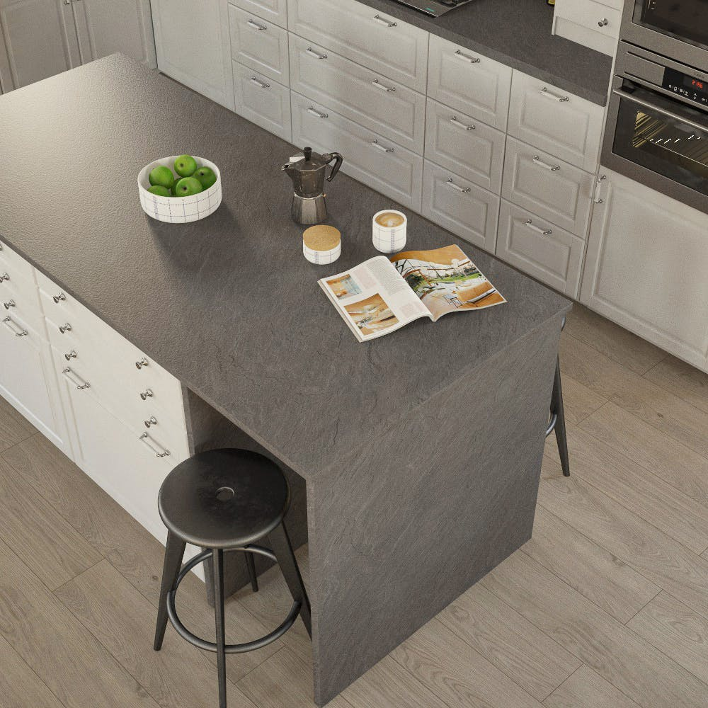 Getalit Porto Slate (SC 475 Pe) Bullnosed Breakfast Bar (4100mm x 900mm x 39mm)