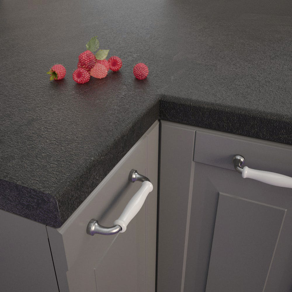 Getalit Black Slate (SC 114 Pat) Bullnosed Worktop (4100mm x 600mm x 39mm)