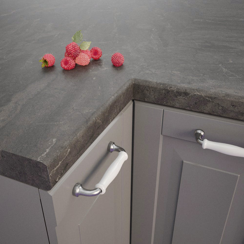 Getalit Bronze Black (BZ 173 Si) Bullnosed Worktop (4100mm x 600mm x 39mm)