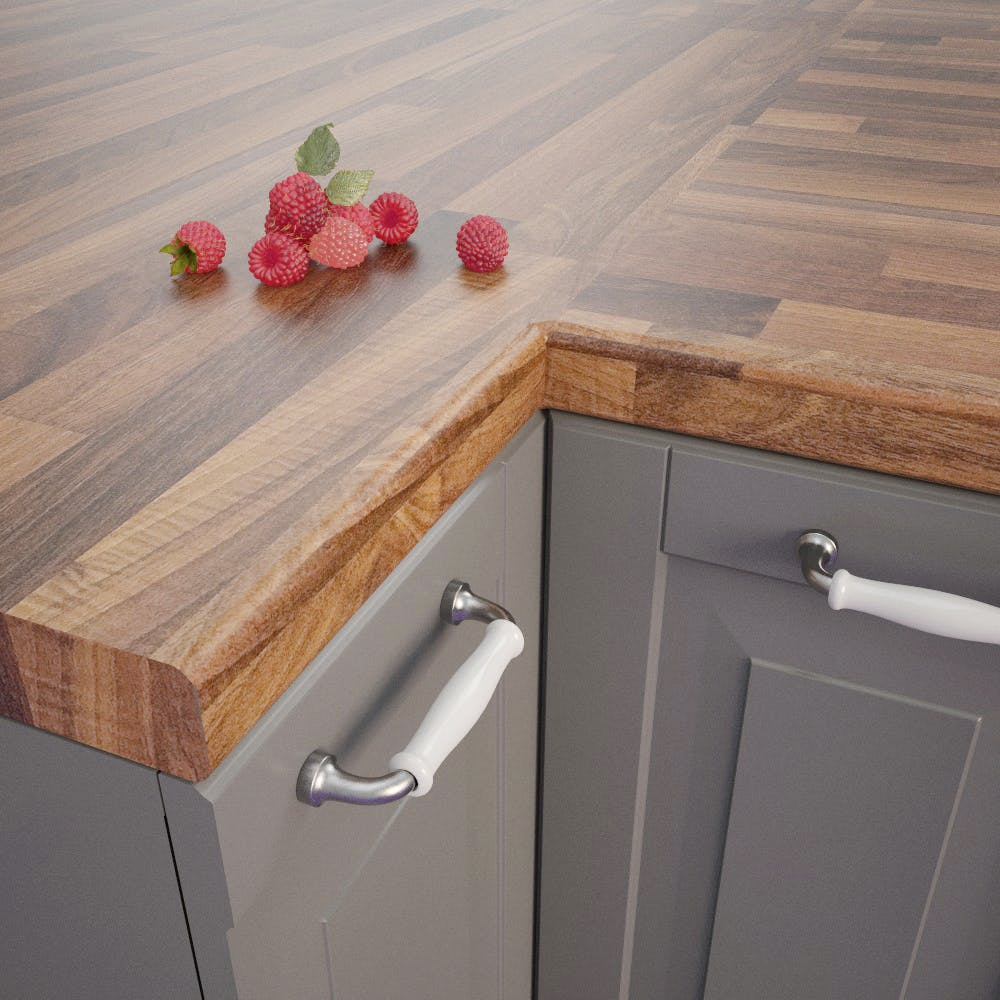 Nut Tree Butcherblock Dark (BBL 467 PoF) Bullnosed Worktop (4100 x 600 x 39mm)