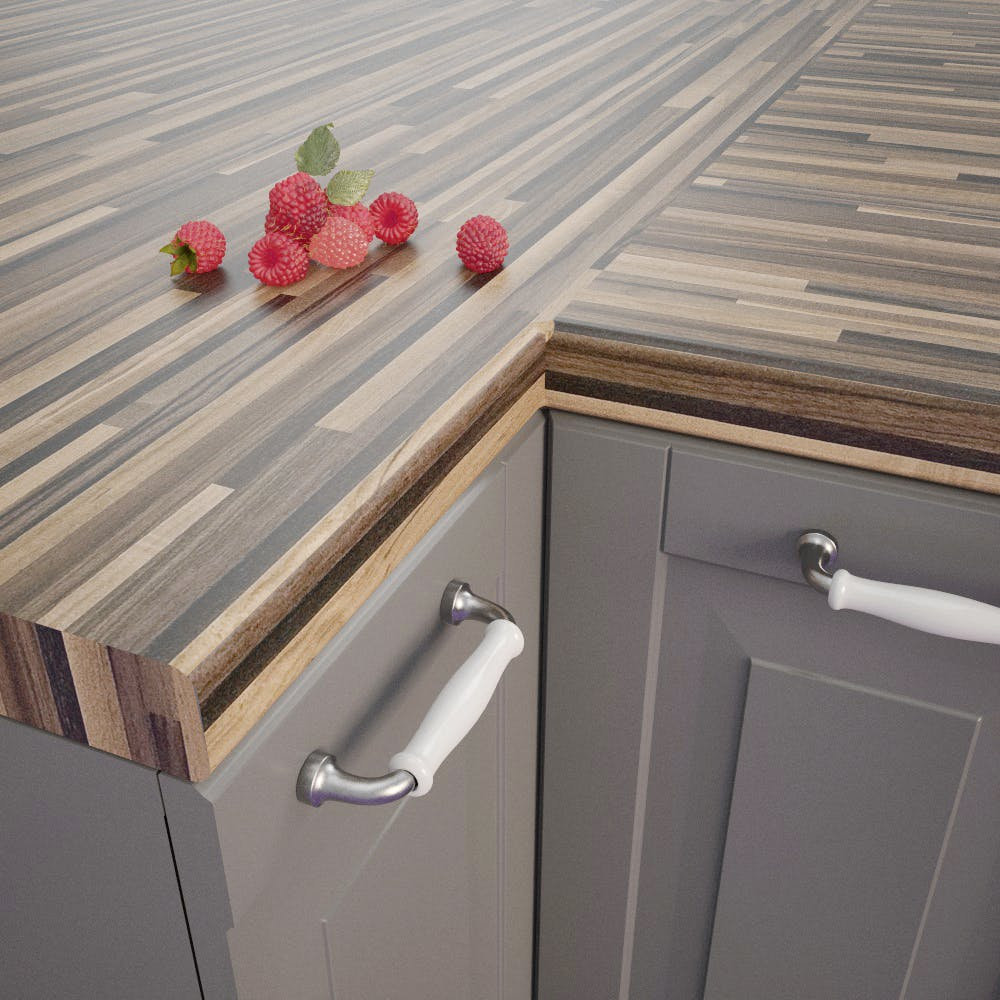 Butcherblock Wenge (BBL 739 PoF) Bullnosed Worktop (4100 x 670 x 39mm)
