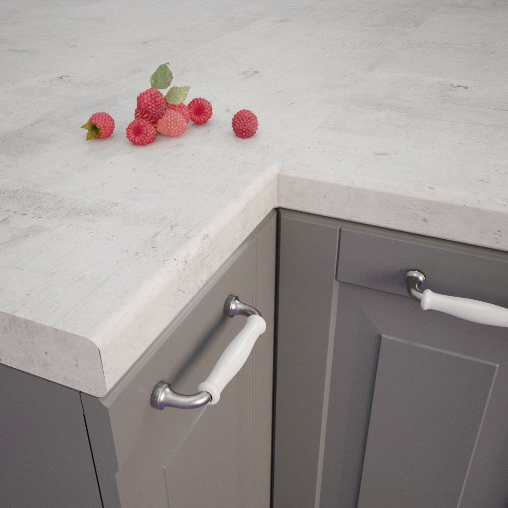 Getalit Concrete White (BN230 Si) Bullnosed worktop (4100 x 600 x 39mm)