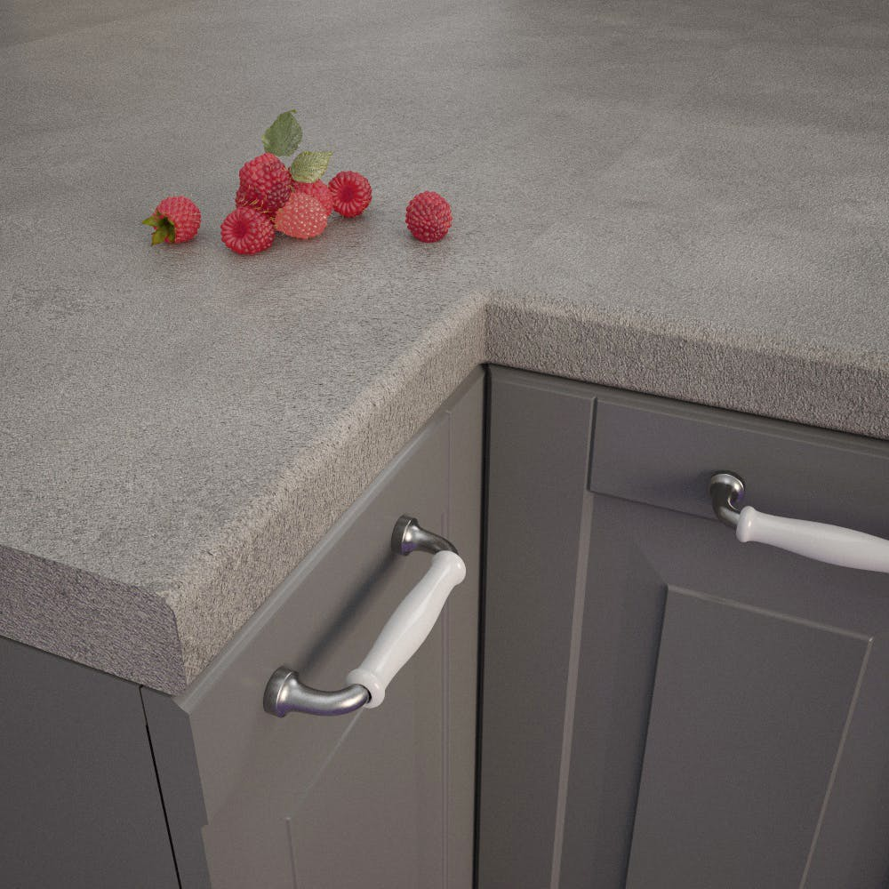 Getalit Fine Ceramic Grey (FC 440 Pat) Bullnosed Worktop (4100mm x 600mm x 39mm)