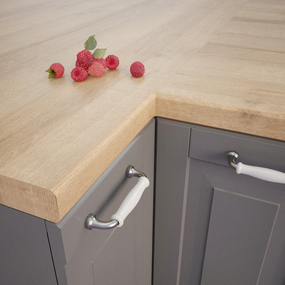 Lago Oak Dark (EiL 730 Si) Bullnosed Worktop (4100mm x 600mm x 39mm)