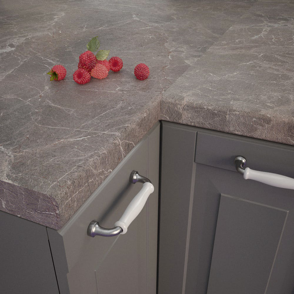 Marble Marquina Brown Grey Bullnosed Worktop (4100mm x 600mm x 39mm)