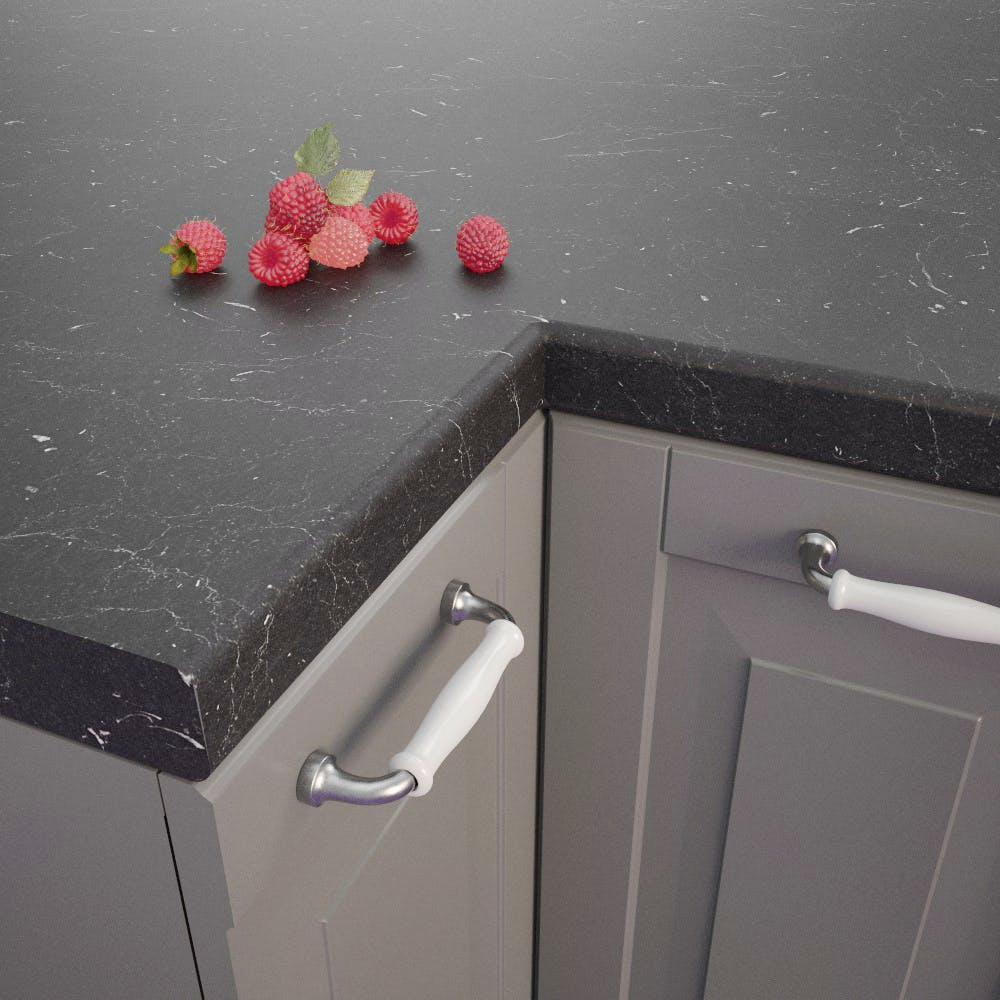 Getalit Marble Marquina Caviar Grey (BN 112 Si) Bullnosed Worktop (4100mm x 600mm x 39mm)