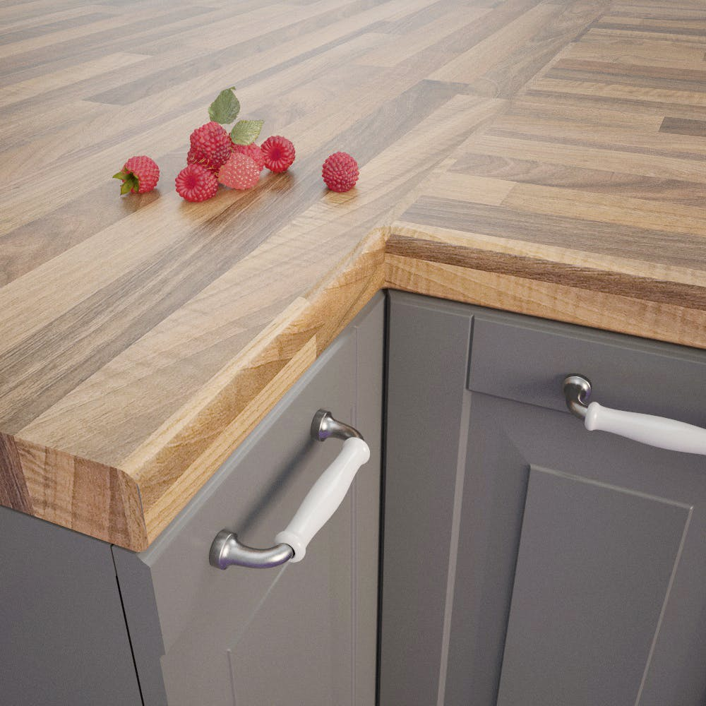 Getalit Nut Tree Butcherblock Light (NU 742 PoF) Bullnosed Worktop (4100mm x 600mm x 39mm)
