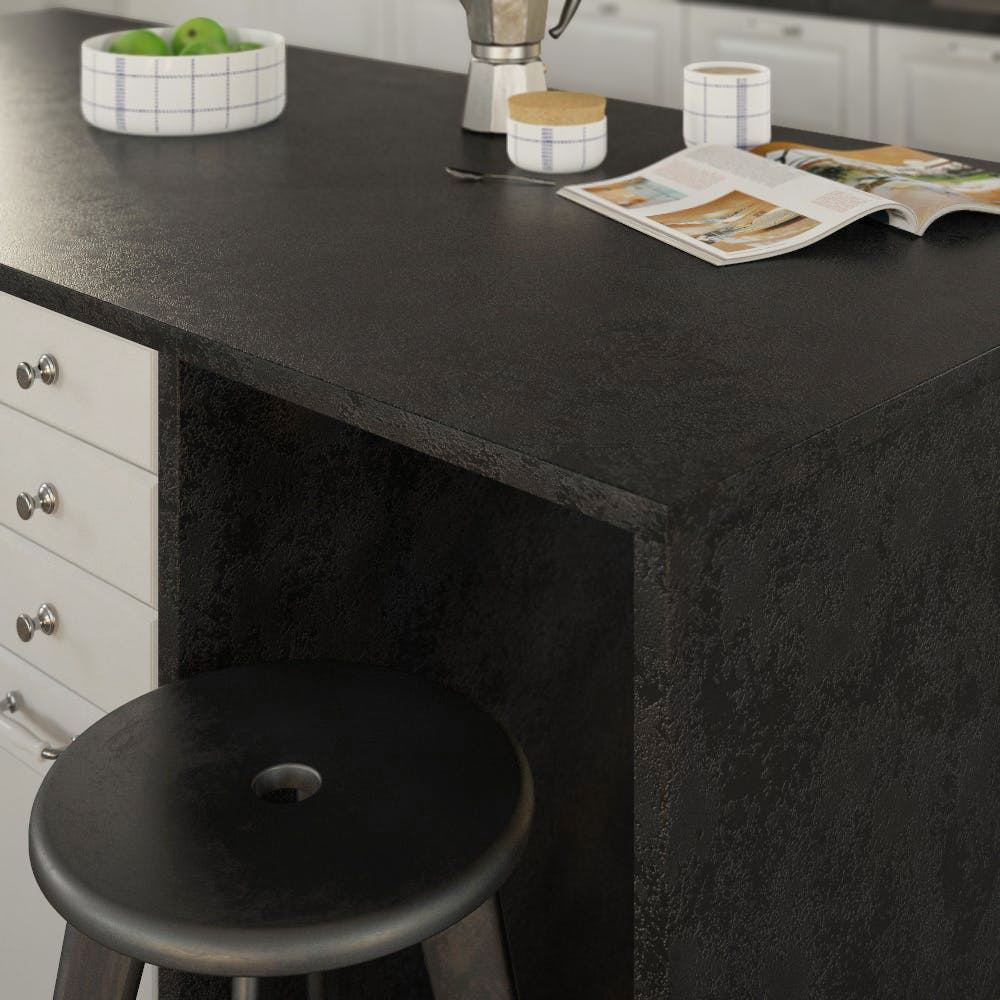 Getalit Black (A 1 Ce) Square Edged Breakfast Bar (4100mm x 650mm x 23mm)