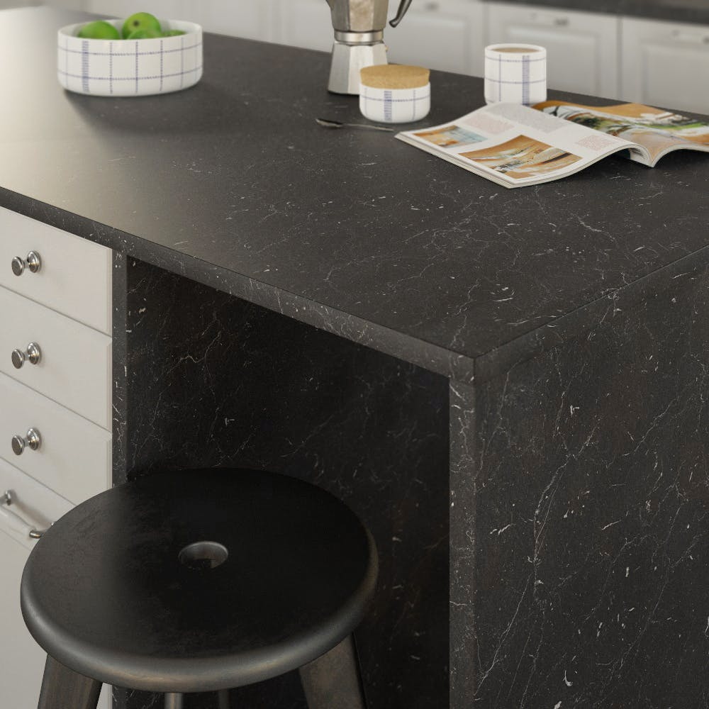 Getalit Marble Marquina Caviar Grey (BN 112 Si) Double Sided Square Edged Worktop (4100mm x 650mm x 23mm)