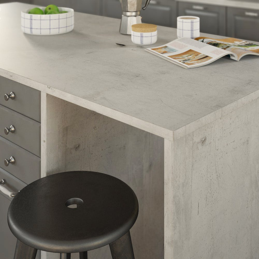 Concrete White (BN 230 Si) Double Sided Square Edged Worktop (4100mm x 650mm x 23mm)