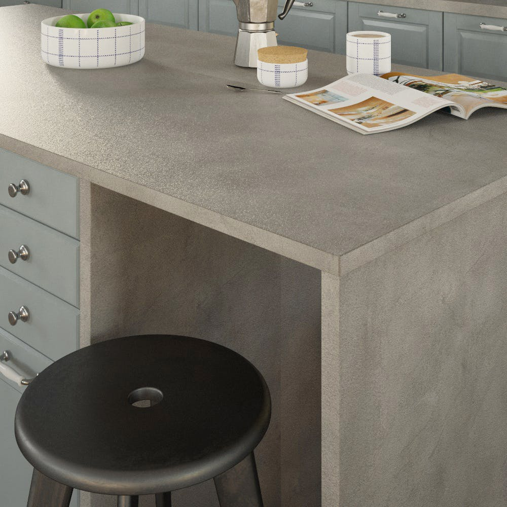 Getalit Fine Ceramic Grey (FC 440 Pat) Double Sided Square Edged Worktop (4100mm x 650mm x 23mm)