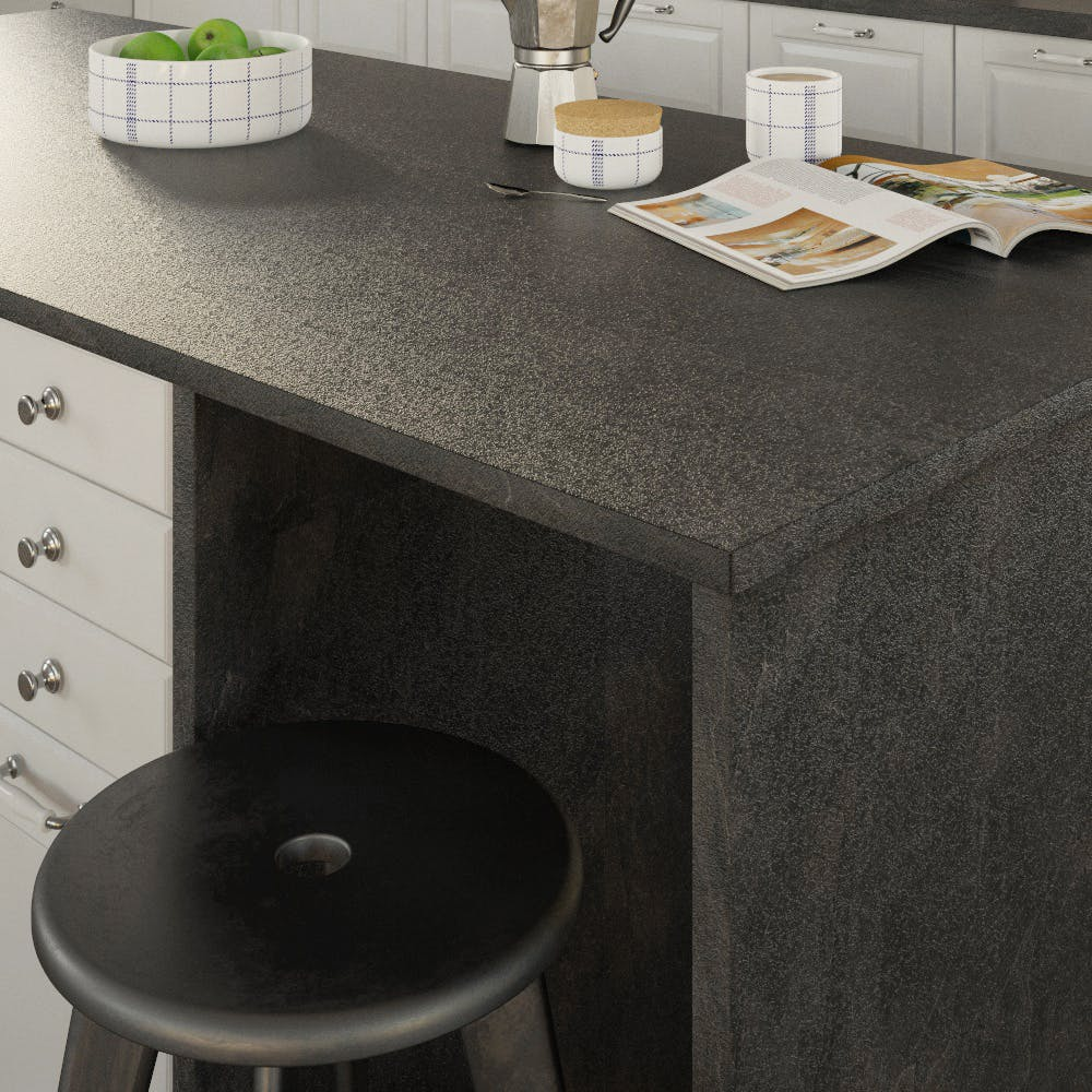 Getalit Black Slate (SC 114 Pat) Double Sided Square Edged Worktop (4100mm x 650mm x 23mm)