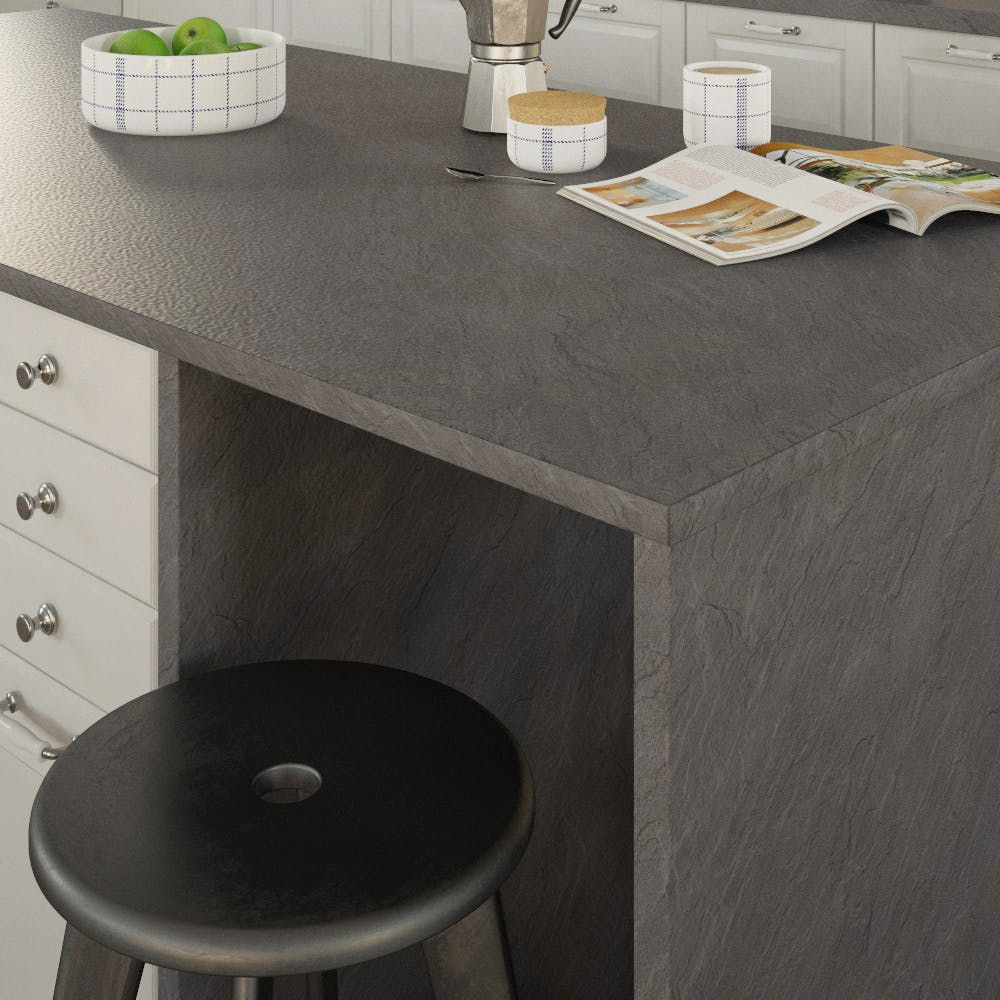 Getalit Slate Dark (SC 134 Pe) Double Sided Square Edged Worktop (4100mm x 650mm x 23mm)