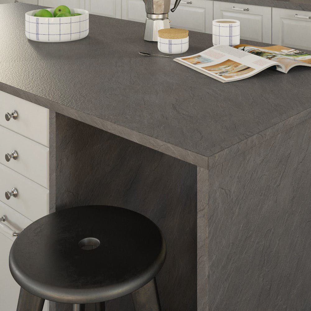 Getalit Porto Slate (SC 475 Pe) Double Sided Square Edged Worktop (4100mm x 650mm x 23mm)