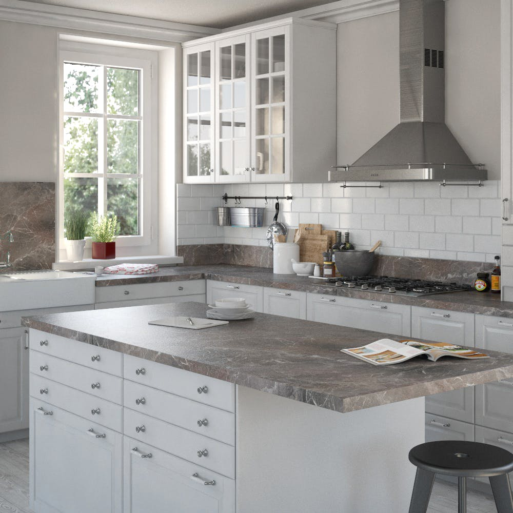 Marble Marquina Brown Grey (SL 120 Sc) Bullnosed Breakfast Bar (4100mm x 670mm x 39mm)