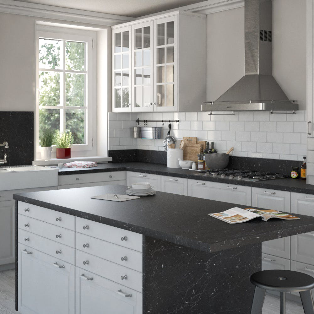 Marble Marquina Caviar Grey (SL 120 Sc) Square Edged Breakfast Bar (4100mm x 900mm x 39mm)
