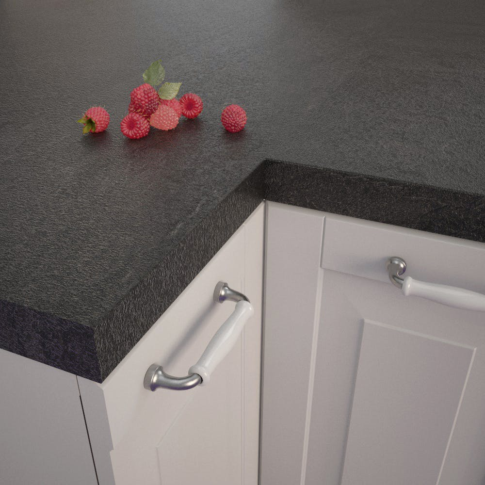 Getalit Black Slate (SC 114 Pat) Square Edged Worktop (4100mm x 650mm x 39mm)