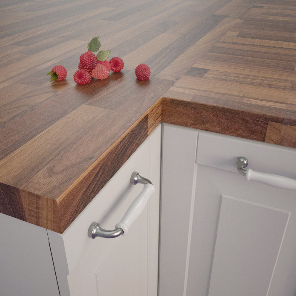 Nut Tree Butcherblock Dark (BBL 467 PoF) Square Edged Worktop (4100mm x 650mm x 39mm)