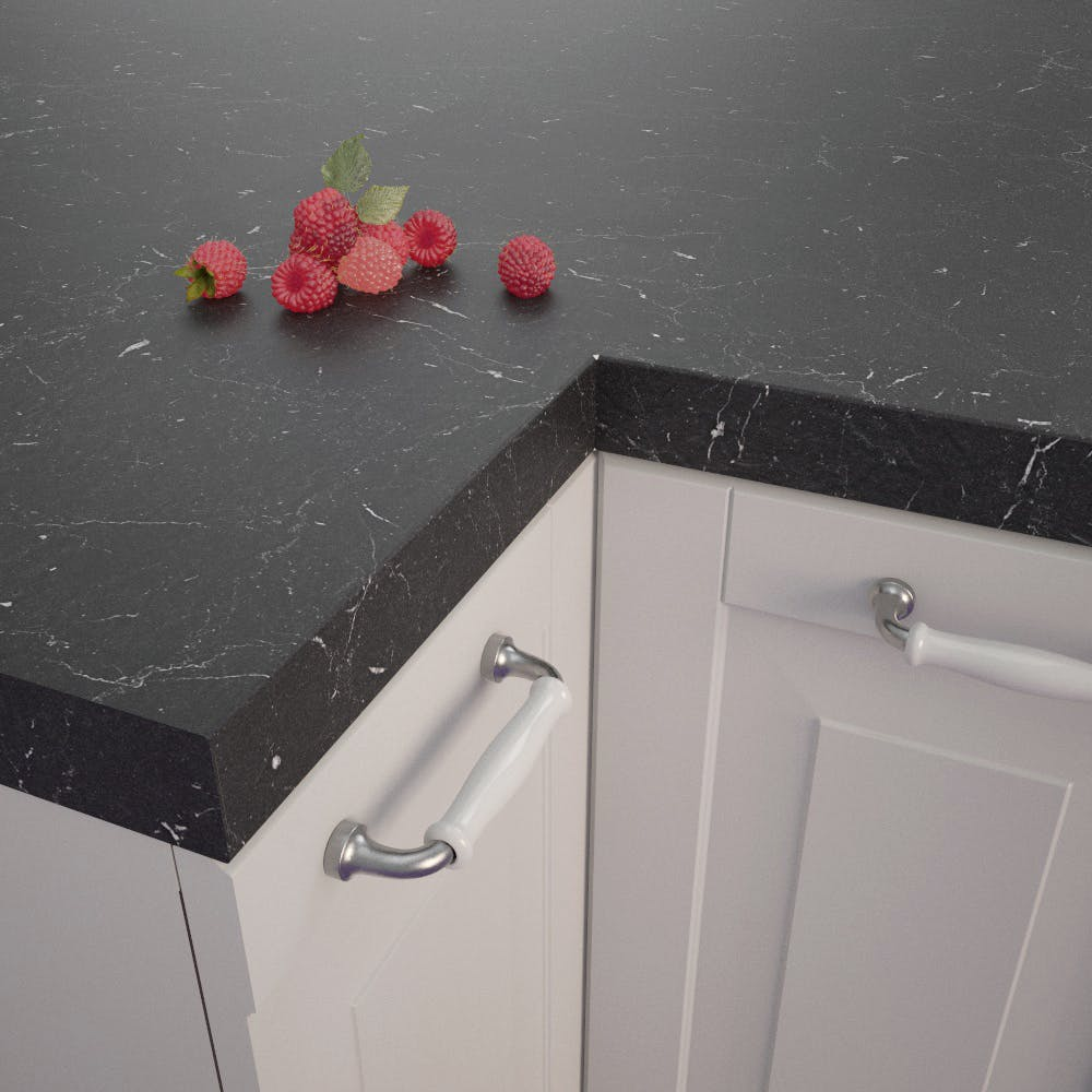 Getalit Marble Marquina Caviar Grey (BN 112 Si) Square Edged Worktop (4100mm x 650mm x 39mm)