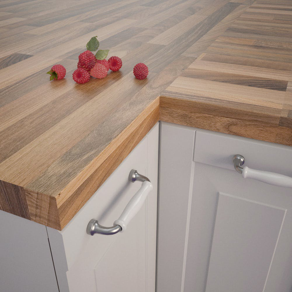 Getalit Nut Tree Butcherblock Bright (NU 742 POF) Square Edged Worktop (4100mm x 650mm x 39mm)