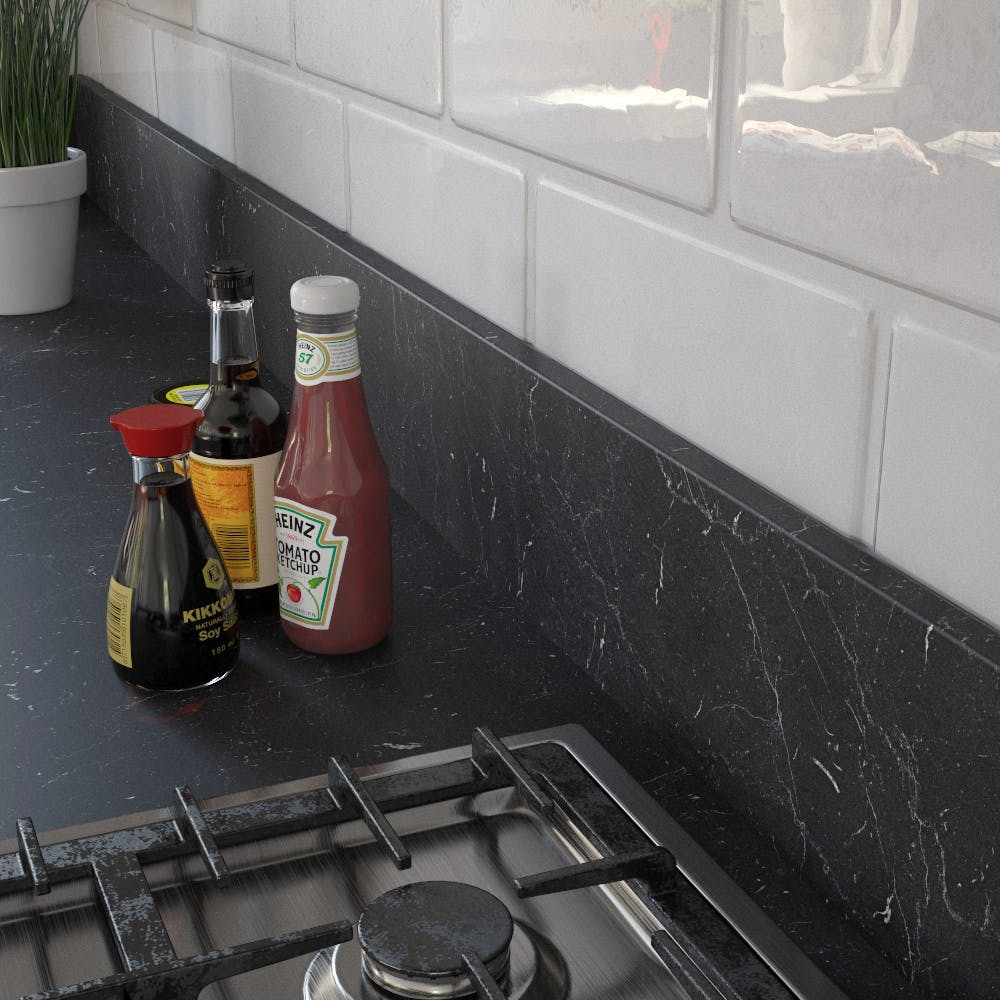 Getalit Marble Marquina Caviar (BN 112 Si) Upstand (4100 x 150 x 14mm)