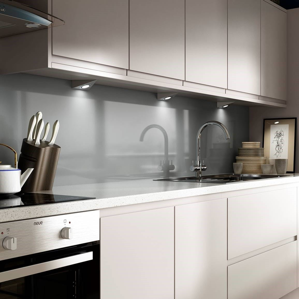 Silver Gloss Kitchen Splashback ( 2420 x 1200 x 11mm)