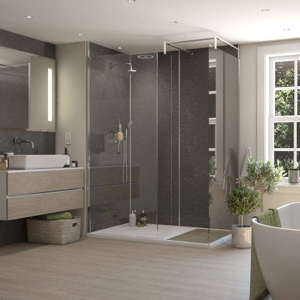 Graphite Sparkle Gloss MR MDF Shower Panel Tongue & Groove (2420mm x 1200mm x 11mm)