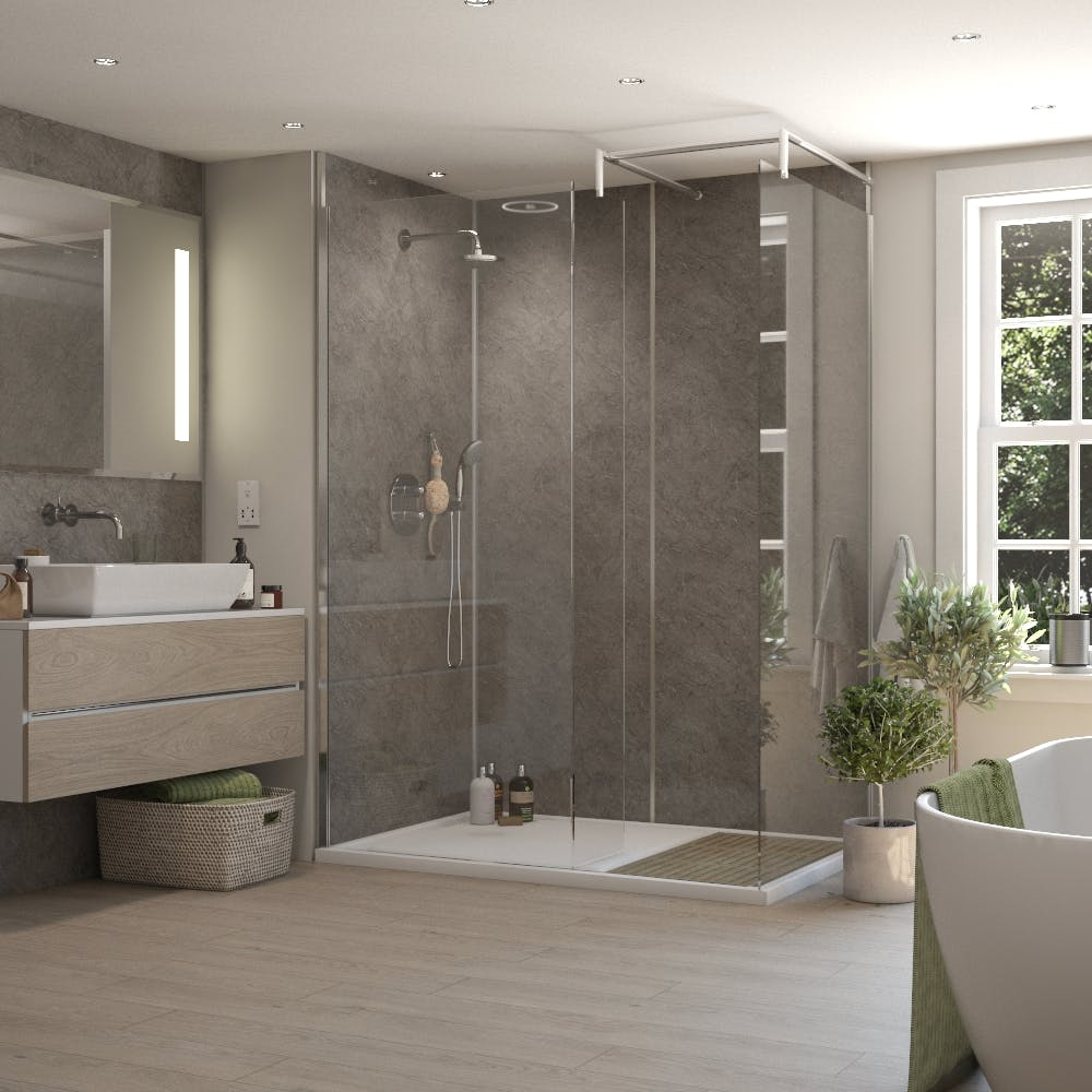 Persian Grey Gloss MR MDF Shower Panel Tongue & Groove (2420mm x 1200mm x 11mm)
