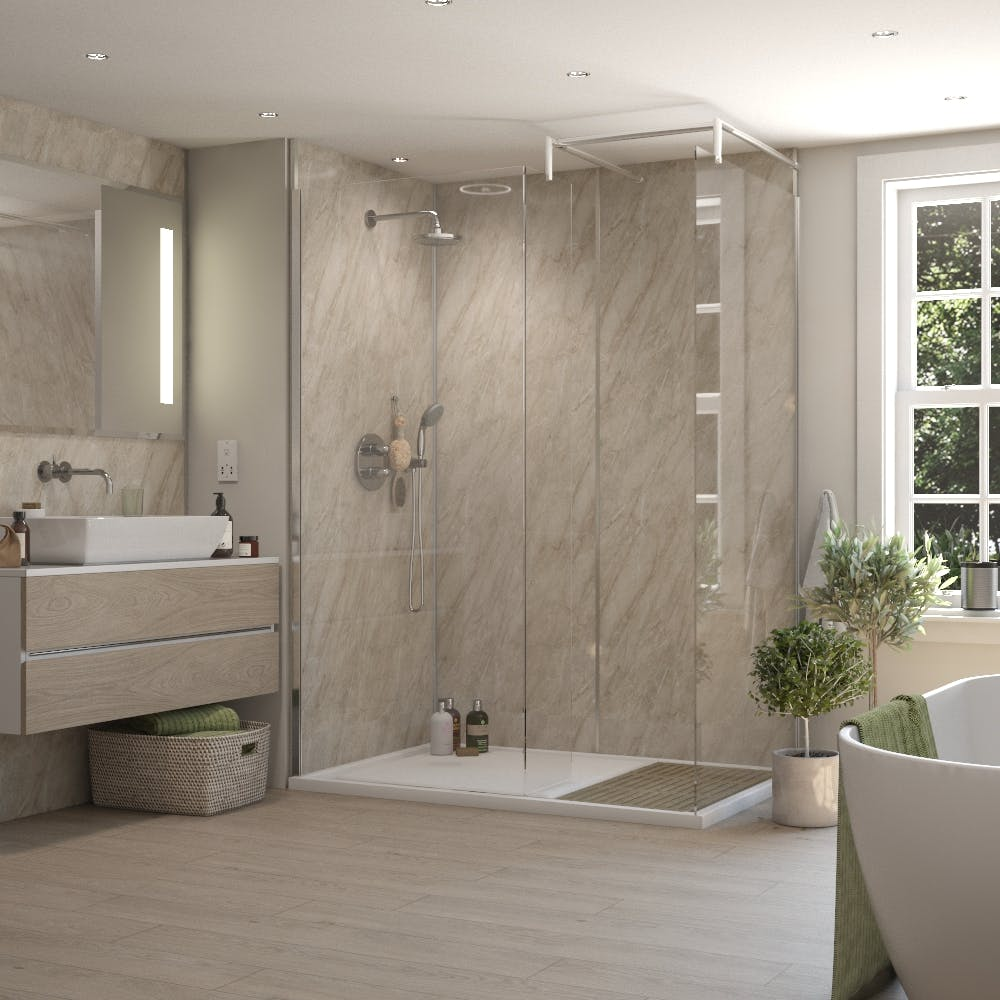 Sorrento Stone Gloss MR MDF Shower Panel Tongue & Groove (2420mm x 1200mm x 11mm)