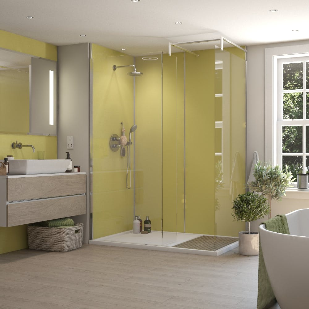 Lemon Grass Tex MR MDF Shower Panel Tongue & Groove (2420mm x 1200mm x 11mm)