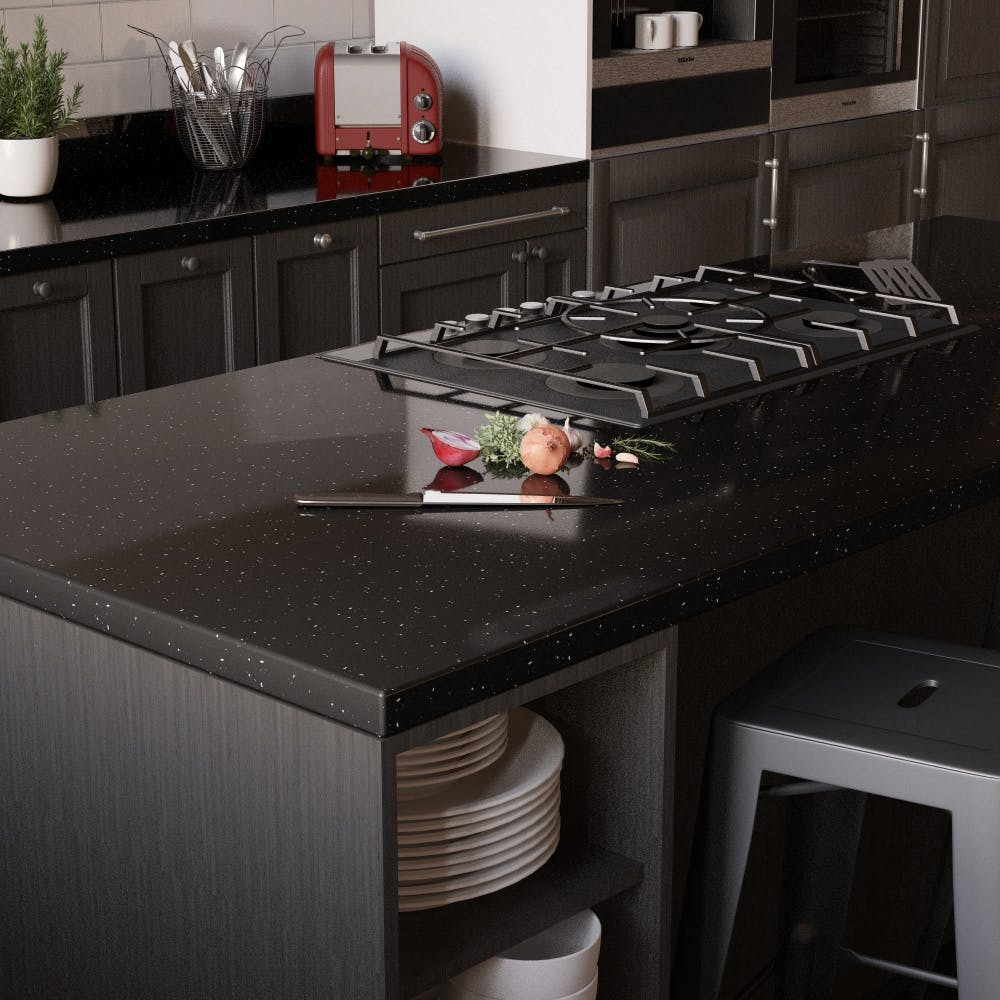 >New Noir Sparkle Breakfast Bar (3000mm x 900mm x 38mm)