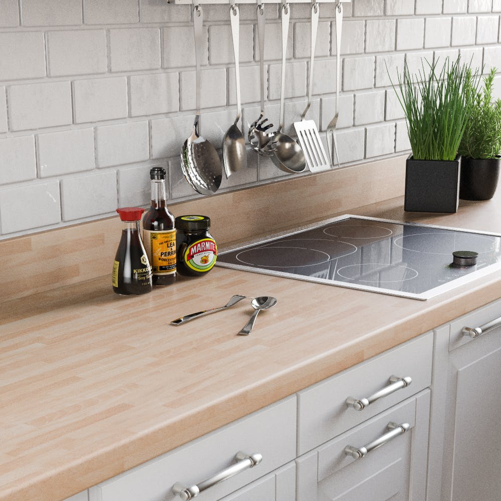 Beech Butchers Block Upstand (3000mm x 100mm x 20mm)