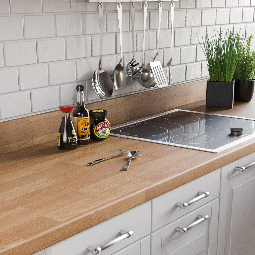 Oak Butchers Block Upstand (3000mm x 100mm x 20mm)