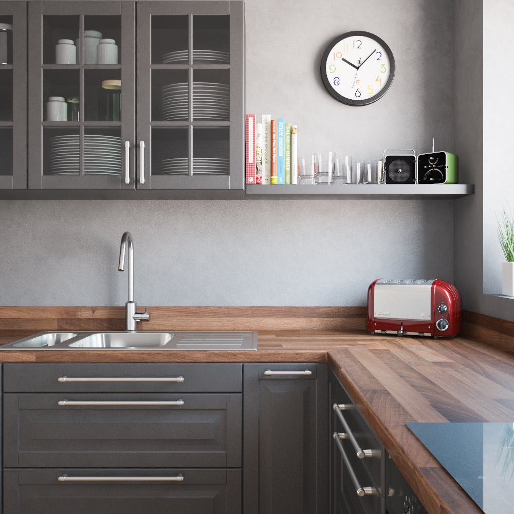 New Walnut Butchers Block Splashback (3030mm x 1200mm x 11mm)