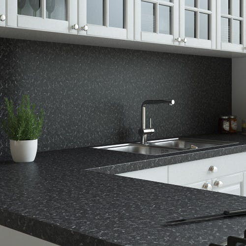 New Black Granite Matt Splashback (3000mm x 1200mm x 11mm)