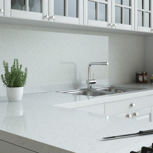 New Pure Sparkle White Splashback (3000mm x 1200mm x 11mm)