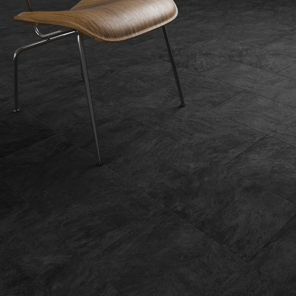 Clixeal Black Slate tile effect click vinyl flooring.      1.48 square metres (8 tiles per box)